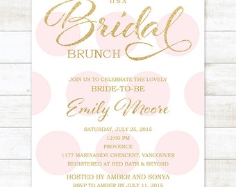 bridal brunch invitation pink bridal shower invitation