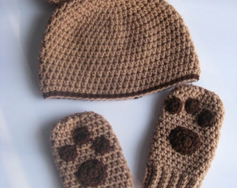 Baby Bear Hat with Paws Mittens Set