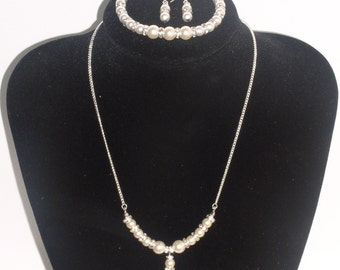 Sterling Silver Swarovski Pearl & Crystal Necklace Set/Bridal/Wedding