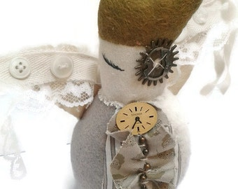 The Guardian Angel - steampunk plush creature - decorative plush - steampunk angel - steampunk plush - christmas angel - upcycled - OOAK