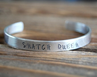 Snatch Queen Bracelet - Aluminum Bracelet - Cuff Style - Hand Stamped Quote - Crossfit Bracelet - Crossfit Jewelry - Workout Jewelry
