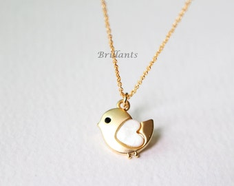 Mother of Pearl Chick necklace, Bird necklace, Animal necklace, Bridesmaid jewelry, Personalized necklace, Wedding necklace, Bridesmaid gift