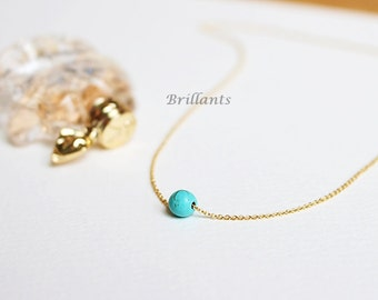 Mini turquoise ball necklace in gold, Simple, Minimalist, Bridesmaid gift, Everyday necklace, Wedding necklace