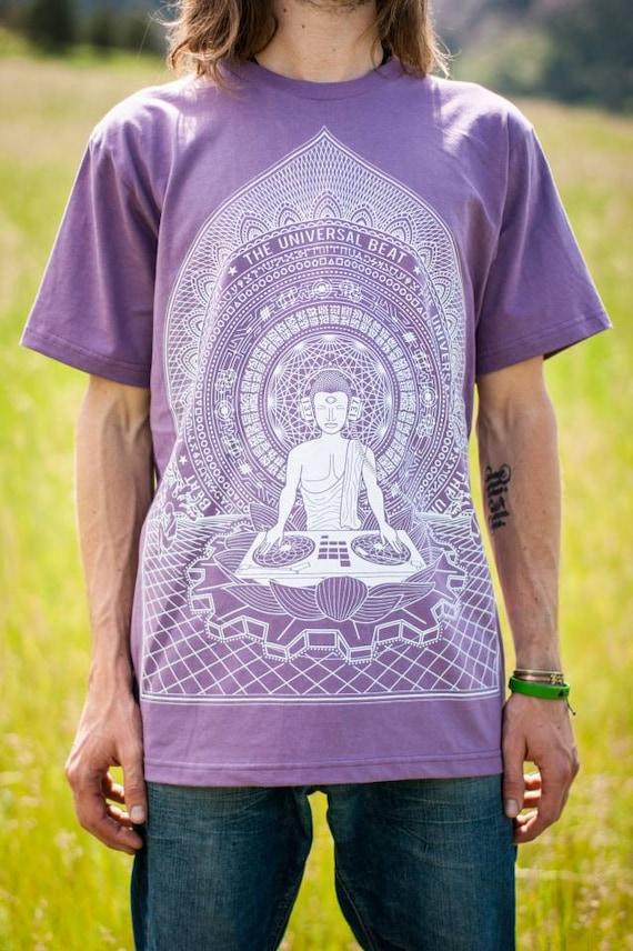 Buddha DJ T-Shirt—Organic USA Made, Buddha T-Shirt, Sacred Geometry T-Shirt, Visionary Art, Buddhist T-shirt, EDM, Psychedelic Buddha, Mens