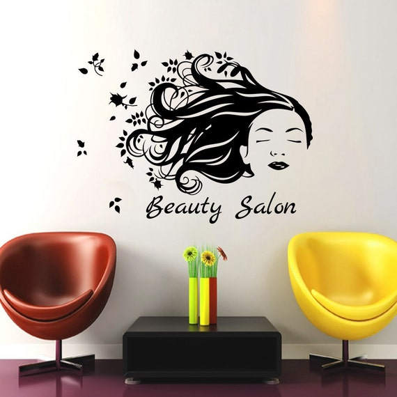 Wall Decals Beauty Salon Decor Girl Hair Sticker By Cozydecal