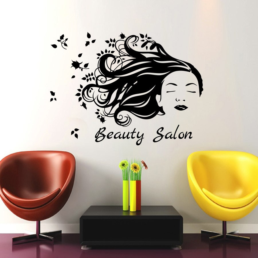 wall decals beauty salon decor girl hair sticker by cozydecal. Black Bedroom Furniture Sets. Home Design Ideas