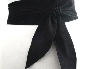Black Suede Sash Belt | Black Suede Obi Belt | Wide Waist Belt | Tie Belt | Suede Leather Belt | Black Belt | Plus Size Accessory | Suede