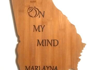 Bamboo Georgia State Cutting Board, Personalized Georgia State Cutting Board, Georgia on my mind cutting board,Georgia State shaped board