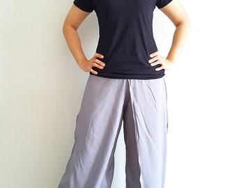 SO14 Women Fashion Trouser Pants Maxi Trouser Rayon Trouser Comfy Trouser Open Leg Wide Leg Plain Color Solid Color Gray