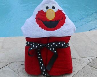 Elmo Hooded Towel MONOGRAM INCLUDED
