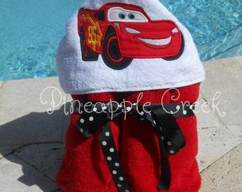 Lightning McQueen Hooded Towel FREE MONOGRAM
