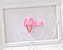 Pink Ice Cream Cone Felt / Feltie Hair Clip