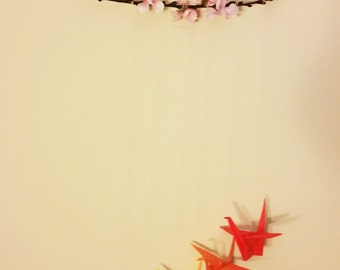 Rainbow Crane and Cherry Blossom Mobile