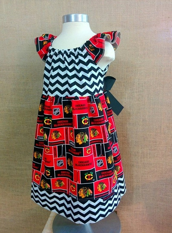 Chicago Blackhawks girls Dress Kids clothing Handmade
