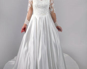 A Line New Arrival Dubai Appliqued Satin Bridal Gown Boat Neck Lace Long Sleeve Wedding Dress