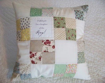 Throw Pillow Cover, Quilted Patchwork Top with Words, 16 X 16