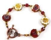 Flower Bracelet   Hawaiian Bracelet   Czech Glass Bracelet   Pansy Jewelry   Red Bead Bracelet   Beaded Bracelet   Solana Kai Designs