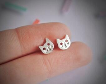 Sterling Silver Kitty Stud Earrings