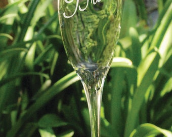 Bride Gift, Engraved Bride Champagne Flutes, set of 1, Mrs Gift, etched Champagne flutes make a good wedding gift.
