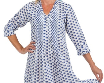 Belle Cotton Tunic Dress - Ditsy Floral
