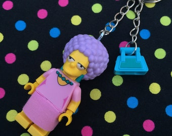 The Simpsons Patty Minifigure Keyring /Keychain...Handmade using LEGO® parts