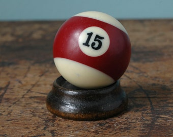 "Vintage Billiard Pool Ball 2.25"" No. 15 Burgundy Maroon White Striped Stripe Paperweight Decor Plastic Bakelite Retro Display Man Cave Old"
