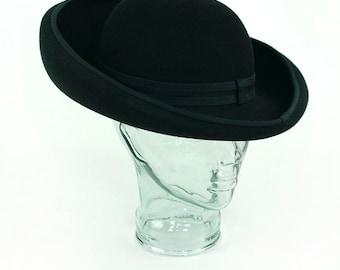 Women's Designer Adolfo II Hat Black Wool Felt Hat Vintage Saks Fifth Avenue New York Paris USA Wide Brimmed Vintage Sun Retro Medium Lady
