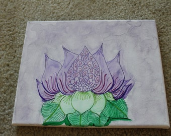 Watercolor Lotus Flower and Marker Canvas