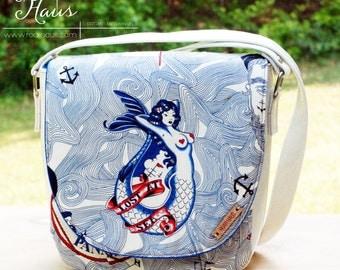 The Sandra Cross Body - Nautical Purse - Nautical Handbag - Nautical Tote - Mermaid Handbag - Modern Purse - Modern Nautical