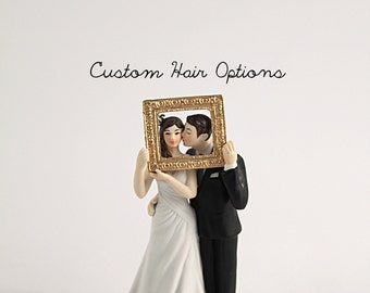 Custom Wedding Cake Topper - Picture Perfect Cake Topper - Bride and Groom - Personalized Wedding Cake Topper - Porcelain Cake Topper - Veil