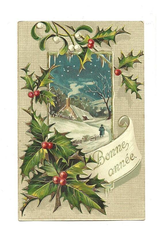 Carte postale ancienne carte no l paysage par labelleepoquedeco - Le houx porte bonheur ...