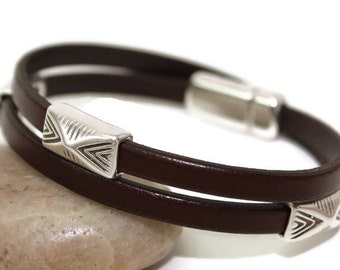 Womens leather bracelet brown leather bracelet wrap bracelet women bracelet multistrand bracelet magnetic clasp FLB5-12-02