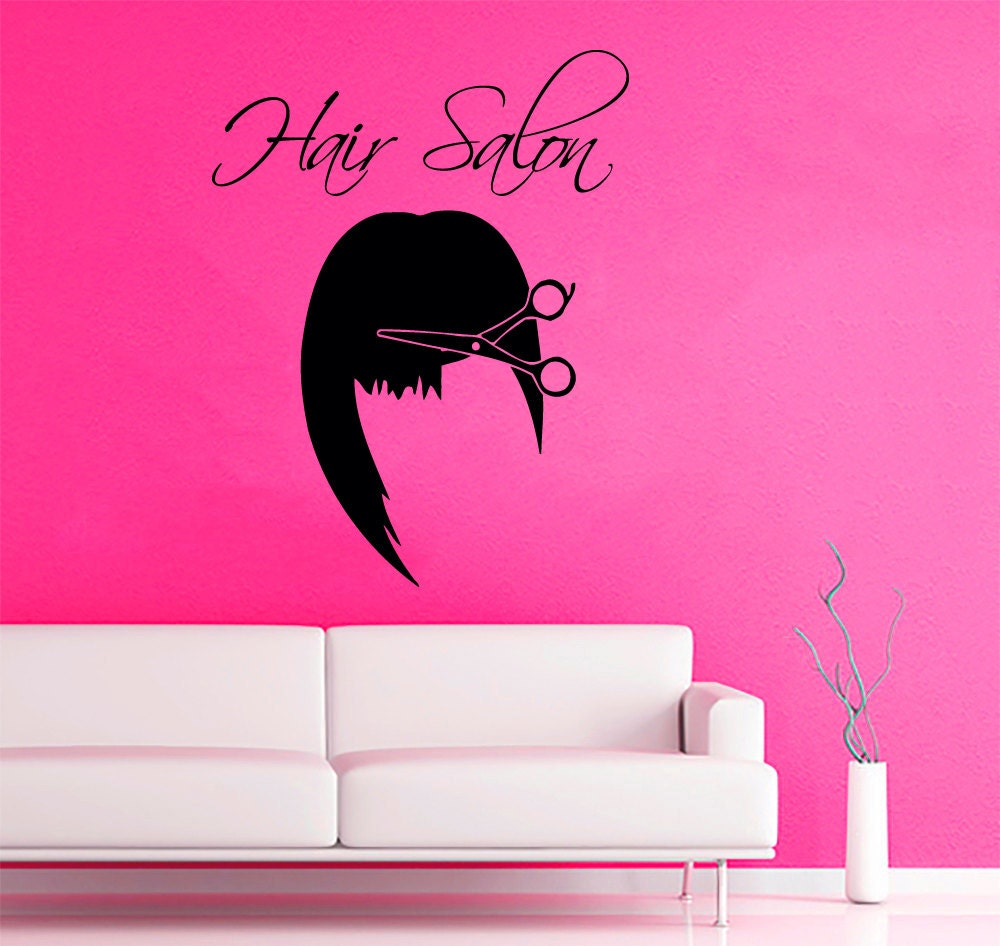 hair salon wall decals girl model scissors beauty salon. Black Bedroom Furniture Sets. Home Design Ideas