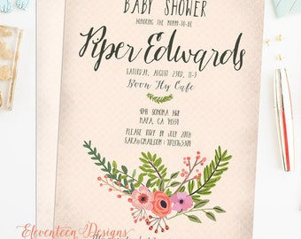 Baby Shower Invitation, Floral Baby Shower Invitation, Pale Pink Celery Green Printable Baby Shower, Boho Shabby Chic The Mia Collection