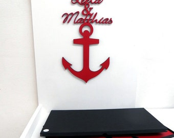 anchor with individual names - wood lettering - personalized weddingpresent