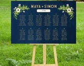 The ALYSSA . Seating Chart . Gold & Navy Chalkboard Wedding . White Champange Vintage Floral Rustic Poster Custom Wedding Sign . PDF
