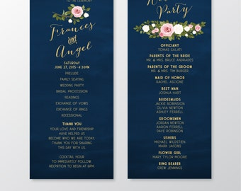 The ASHLEY . Program Ceremony Card Catholic Mass Card . Gold Calligraphy & Navy Chalkboard Wedding . Roses Blush Pink White . Printed Cards