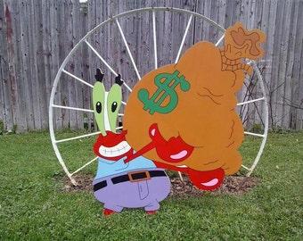 Mr Krabs,Spongebob Square Pants,Outdoor Wood Yard Art, Lawn Decoration