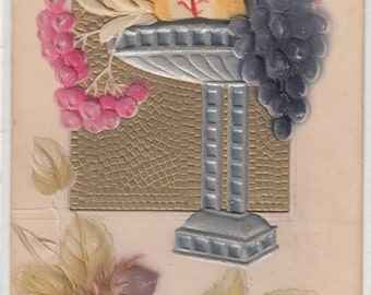 Beautiful Art Deco Compote Complete W Fruit,Heavily Embossed,Gold Background,Airbush C 1910 Postcard