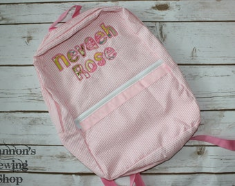 Pink Seersucker Backpack w/ applique name