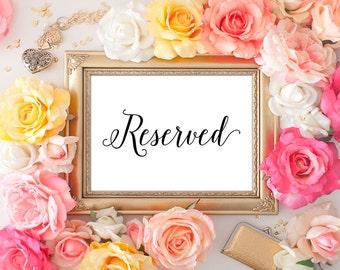 75% OFF SALE - Wedding Reserved Printable - 5x7 Wedding Decor, Reserved Table Sign, Wedding Reserved, Printable Wedding Sign, Script Font