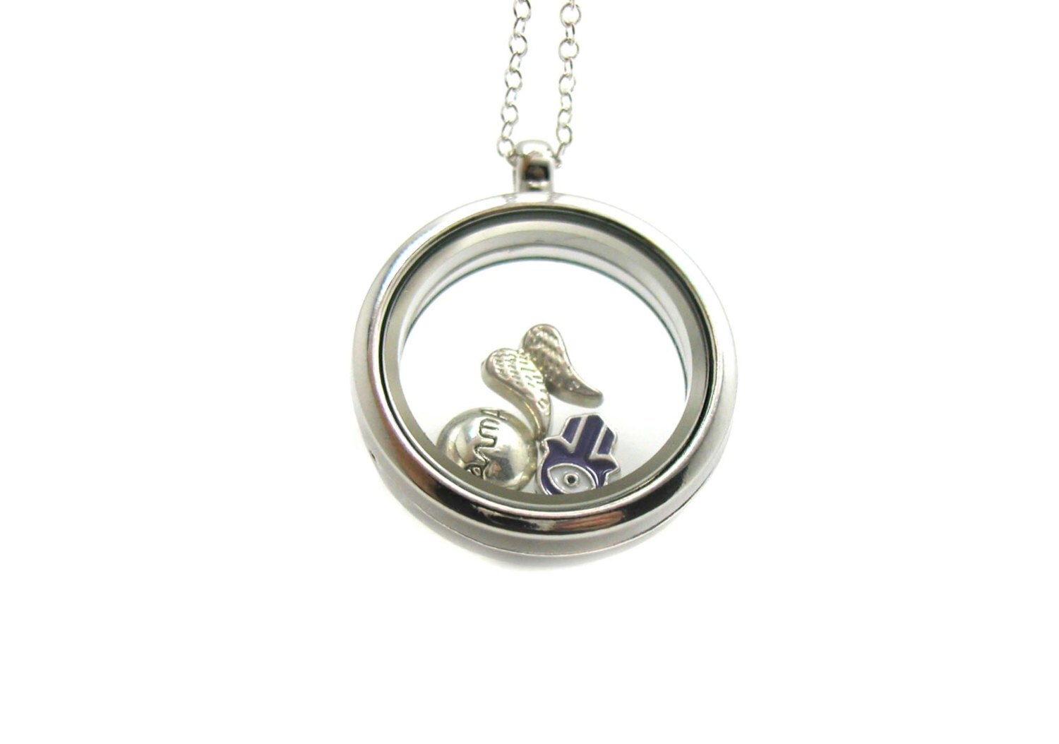 karma floating charm locket necklace memory locket floating
