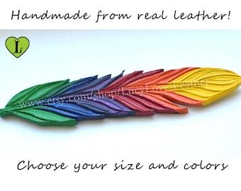 Rainbow Feather, Leather Charm, Rainbow Pride, Leather Feather, Custom Made, Necklace Charm Feather, Pride Jewelry