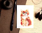 Kitten Watercolor Painting Art Print, Cat Painting, Cat Wall Art