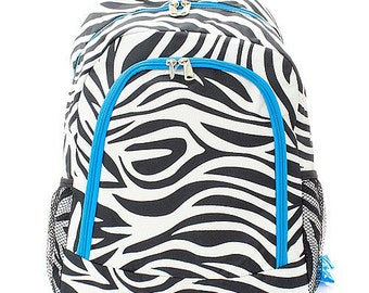 Zebra Print Monogrammed School Backpack with Bright Blue Trim