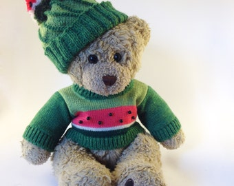 14 Inch Bear Hat - Hat for Bears like Teddy Bear. Green Teddy Bear Hat. Hand Knitted Clothes for 14 In Bears. Ready to Ship!