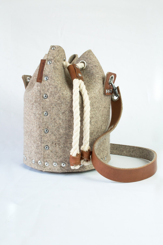 Wool Felt Bucket Bag Felt Duffle Bag Duffle Satchel Felt