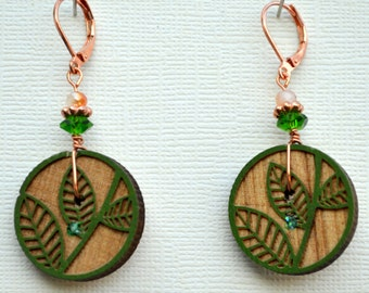 Carved Wooden Embossed Button Leverback Earrings