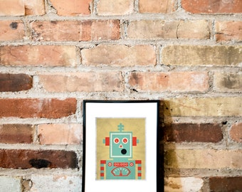 Retro Robot //Boys Room Poster