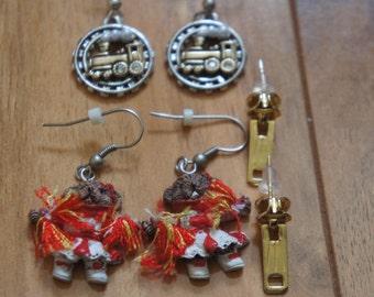 Vintage Jewelry Earrings Pierced/Stud/  Set / Drop Part/ For Teens/ Gift /Bear/ locomotive/ Clasp  Y-063